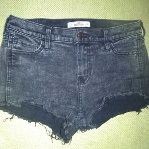 Hollister distressed black high-waisted cut off